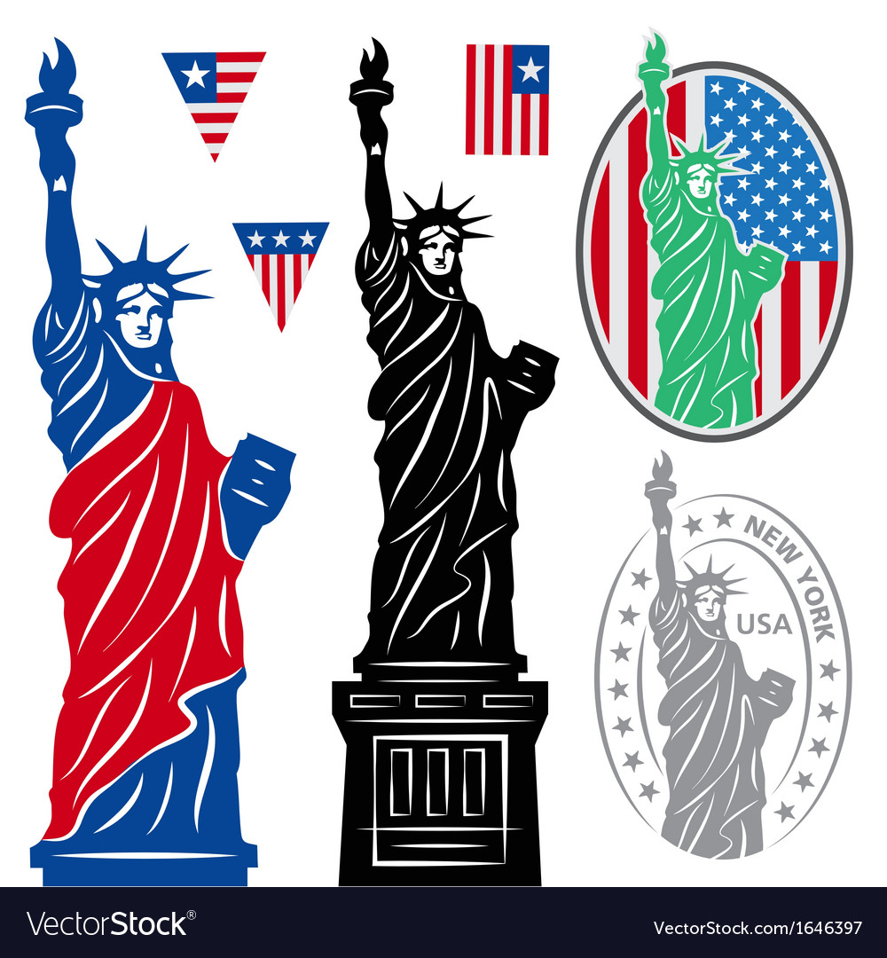 Statue of liberty and flags vector