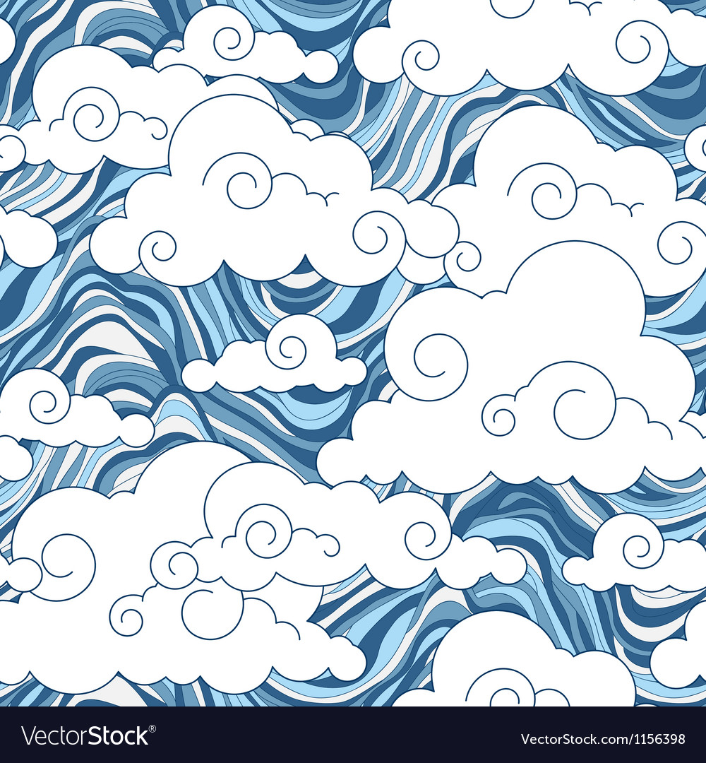 Vintage cloud chinese seamless pattern vector
