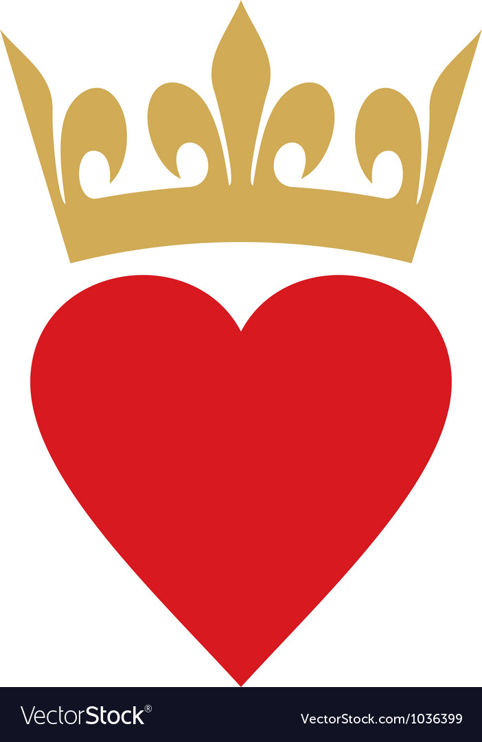 Heart with crown vector