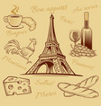 france food croissant wine cheese eiffel tower vector image