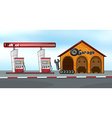 Gas station and garage vector image vector image