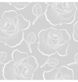 White outline roses on gray seamless pattern vector image