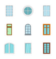 architecture window icon set flat style vector image