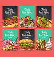 card templates set with hand drawn fast vector image