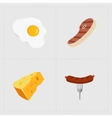 Colorful Fast Food Icon Set on White Background vector image