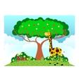giraffe under tree in sunny weather vector image