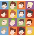 Male faces in flat design vector image