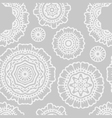 white and grey floral mandala seamless pattern vector image