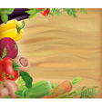 Wooden board with vegetables vector image