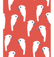 Seamless pattern with white cockatoo birds on red vector image vector image