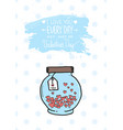 valentines day greeting card with heart jar and vector image
