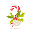 candy cane and holly vector image