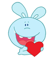 Blue Rabbit Laughing And Holding a Red Heart vector image
