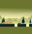 collection hill with tree scenery bakground game vector image