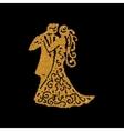 Dancing couple golden silhouette vector image