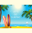 Summer Travel Poster Surfboards Background vector image