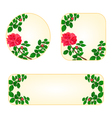 Rose banners and buttons with a flowers vector image