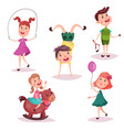 cartoon girl and boy baby and preschool kids vector image