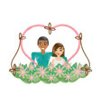 drawing couple love heart flowers decoration vector image