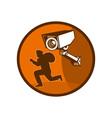 Security surveillance camera burglar thief running vector image
