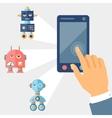 Concept control robots using gadget vector image vector image