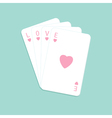 Playing card with heart Stuck big love pink word vector image