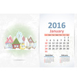 Cute sweet town calendar for 2016 January vector image