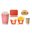 fast food icons set french fries coffee vector image