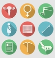 Flat icons for Obstetrics and Gynecology vector image