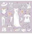 Stylish hand drawn set of women fashion items vector image