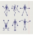 Outline skeletons set on notebook page vector image vector image