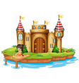 A girl sitting with a frog in front of a castle vector image vector image