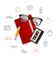 notebook and glasses hipster style concept vector image vector image