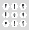 microphones icons - flat microphones icons set vector image vector image