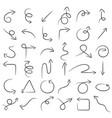 pencil hand draw arrow set vector image