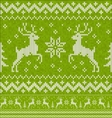 Green Christmas knit with deers seamless pattern vector image