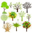 Tree super collection of different styles vector image vector image
