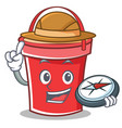 compass bucket character cartoon style vector image