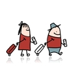 Couple with suitcases and tickets cartoon vector image