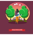 Man carry his girlfriend on back Romantic happy vector image