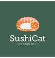 Sushi Cat Concept Symbol Icon or Logo Template vector image