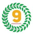 Template Logo 9 Anniversary in Laurel Wreath vector image