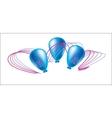 Three Blue Ball With Holiday Ribbon vector image