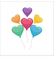 Color glossy hearts balloons vector image