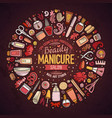 set of manicure cartoon doodle objects vector image