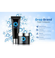 hand cream black tube bottle blue drop background vector image
