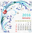 Calendar for 2016 January vector image vector image