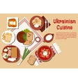 Traditional ukrainian cuisine dishes set vector image vector image