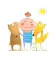 Animals friends fox bear bird and kid childish vector image