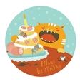 Funny cat and big cake with mouse vector image